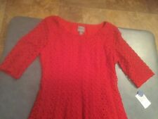 Rabbit Rabbit Rabbit Designs Women's Size 12 Red Lace Knee Length Dress NWT