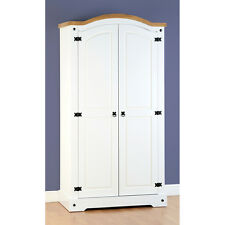 Seconique Corona 2 Door Wardrobe in White and Distressed Waxed Pine