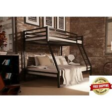 Premium Twin over Full Bunk Bed Kids Bedroom Furniture Loft Metal Room Black