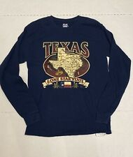 Vintage Hanes Beefy Tag Blue Texas Lone Star State Long Sleeve Size-Medium