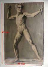 Homme Nu Le Bras Levé XIXe 1820 Nu Masculin Culture Gay Dessin Original Nu