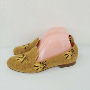Stubbs & Wootton Womens Velvet Printed Loafers Gold Size 8.5