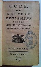 Règlement sur les lieux de prostitutions dans la ville de Paris