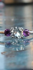 Aquamarine And Amethyst Round Cut 3 Stones Ring 10kt Solid White Gold
