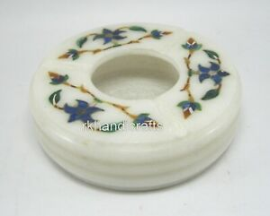 3.75 Inches Marble Table Master Piece Handmade Cigarette Ashtray Floral Pattern