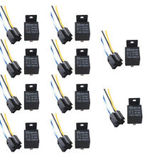 Lot10 Black 12V 40A SPST Premium Relay & Socket 4Pin 4P 4 Wire For Car Auto