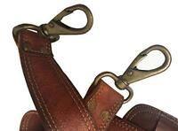 Dark Brown REPLACEMENT Shoulder Bag Strap Brass Bronze Chain Metal & Leather NEW
