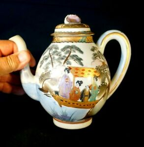 Stunning Satsuma Antique Japanese Hand Painted Eggshell Porcelain Teapot