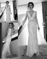 NEW Vintage Lace Wedding Dress V-Neck Long Sleeves Bridal Gown White/Ivory Color