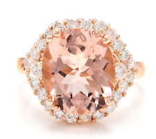 4.60 Carats Natural Morganite and Diamond 18K Solid Rose Gold Ring