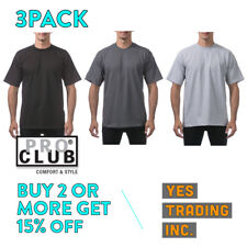3 PACK PROCLUB PRO CLUB MENS CASUAL T SHIRT PLAIN SHORT SLEEVE SHIRTS HEAVY-DUTY