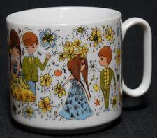 Vintage 70s Coffee Cup Love Flowers Boy Girl Wedding Date Japan # 8014 Mug