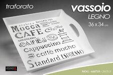 VASSOIO IN LEGNO TRAFORATO BIANCO CON MANICI 36X34CM MOG-660719
