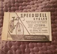 Speedwell Cycles - 1934 Advertisement