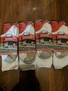 NEW 4 Pack Thorlos Unisex Tennis Socks, Large 9.0-12.5 White Crew Imperfect