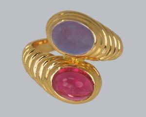 Bulgari Bypass Ring Violet Blue Ioloite & Pink Tourmaline 18ct Gold Bvlgari Ring