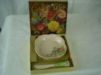 Vintage Carlton Ware England Art Pottery Majolica Raised Flowers Bowl & Knife