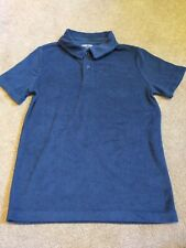 LANDS END Boys Navy Blue Towelling Polo T-Shirt Age 10-12 Years NEW