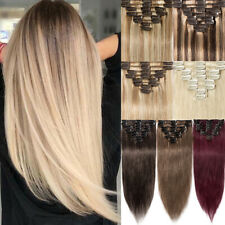 Full Head CLEARANCE 100% Human Hair Extensions Clip In Real Remy Hair Ombre TJ02