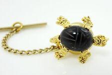 Vintage Turtle Tie Tack Pin Scarab Engraved Stone Goldtone