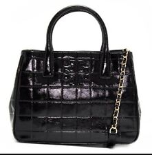TORY BURCH MARION QUILTED PATENT LEATHER TOTE BAG BLACK NWT