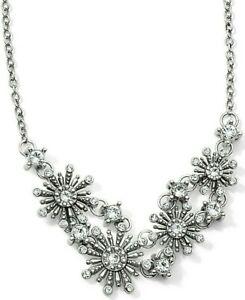 NWT Brighton MIRA Snowflake Starburst Crystal Silver Necklace Holiday  MSRP $98