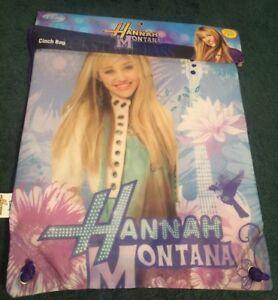 Hannah Montana VINTAGE CINCH BAG SACK DISNEY Miley Cyrus Unused ORIG PACKAGING