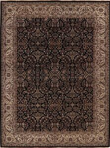 All-Over Floral Agra Oriental Area Rug Handmade Traditional Black Carpet 9x12