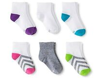 Hanes Girls' Premium 6 Pairs Ankle Socks, Assorted Size Small Shoe Size 6-10 1/2