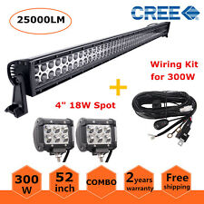 "52inch 300W Combo LED Light Bar Offroad with Wiring Kit + 2X 4"" 18W Pod Lights"
