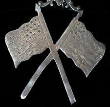 Brooch Silver Plate Freemason Medal ! Antique Masonic Star Etched Flags Masonic