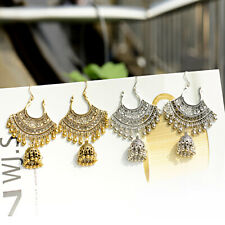Woman Gold Silver Bell Gypsy Tassel Jhumka Fan Shaped Indian Drop Earrings Gifts