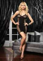 Leg Avenue 86095 Fishnet Halter Dress with Lace Trim and Opaque Center Panel
