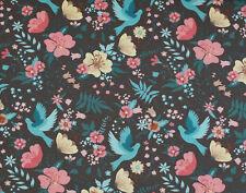 (EUR 18,90/m) Jersey Vögel und Blüten Braun 0,50m x 1,50m (Art 1338)
