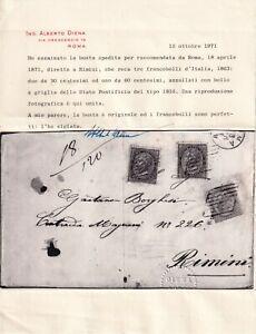 1871 18 APR DE LA RUE C.30 DUE+C.60 SASS L19+21 SU BUSTA DA ROMA A RIMINI ANNULL