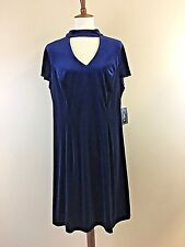 New Rebecca B Cocktail Formal Flutter Sleeve Dress - Navy Velour - Plus Size 16W