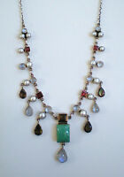 AWESOME NICKY BUTLER STERLING MOONSTONE TURQUOISE GARNET SMOKEY TOPAZ NECKLACE