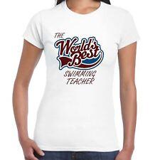 Worlds Best Swimming Teacher Ladies T Shirt - Gift, Love, Work