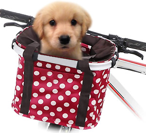 GLE2016 Bike Basket, Foldable Small Pet Cat Dog Carrier Front Removable Bicycle