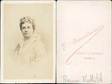 Princesse Mathilde CDV vintage albumen. Tirage albuminé  6,5x10,5  Circa 1