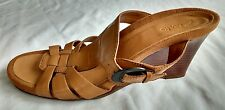 Womens Ladies Used Clarks Brown Leather Wedge Mules Sandals Size 6/39 Wedge Used