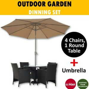 Rattan Outdoor Dining Set 5 Piece with Umbrella Black Garden 4 Chairs, 1 Table