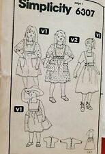 Vtg Simplicity 6307 Girls' Jumper & Back Button Blouse 1983 Size 4 - 5 - 6 uncut