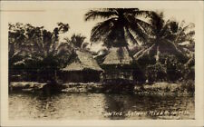 Thatch Homes on Salado River Argentina Hond Williams Real Photo Postcard