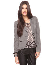 Forever 21 Grey Black Ruched Puff Shoulder Fitted Herringbone Jacket Blazer L