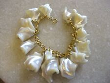 Gold Tone Chain Link Bracelet w/ Chunks of Mop Charms / FREE SHIPPING