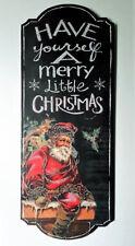 Vintage Santa Christmas Holiday Wall Art Wood Plaque Winter Home Decor