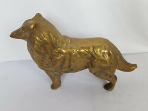 Vintage Solid Brass Border Collie Heavy Solid Brass Antique
