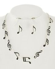 Silver Black Music Notes Treble Clef Necklace Earrings Women Musical Jewelry Set