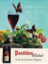 PUBLICITE ADVERTISING 064  1963  POSTILLON CLAIRET  le vin de la femme élégante